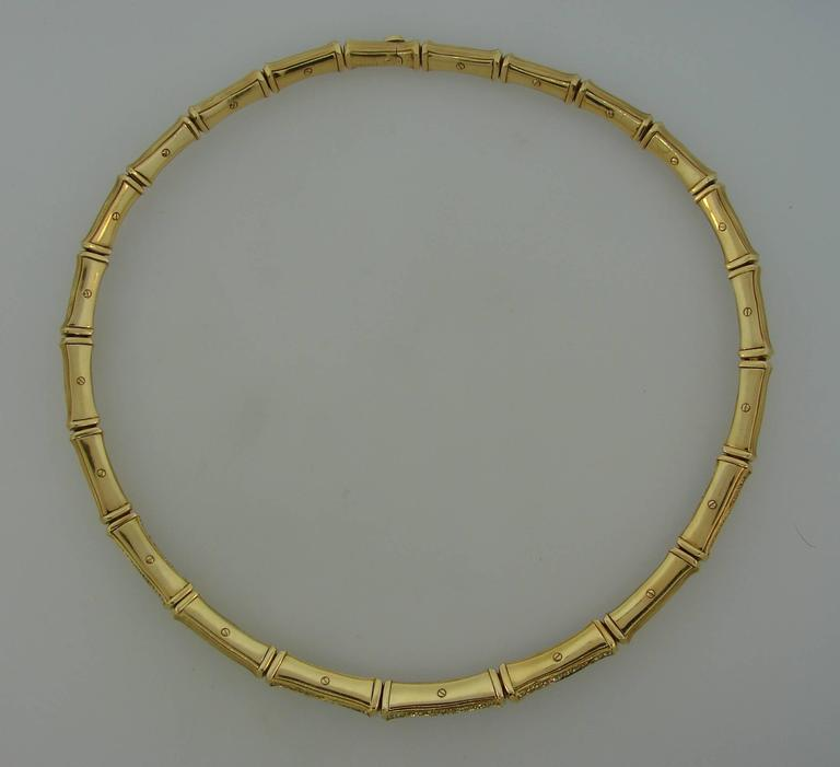 Cartier Diamond Gold Bamboo Necklace For Sale 2