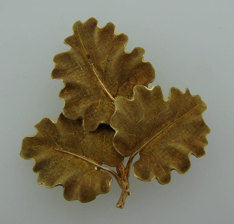 Chic lovely Oak leaves clip created by Mario Buccellati in Italy in the 1950's. It makes a tasteful accent to any outfit.  The pin is made of 18 karat (stamped) yellow gold. It is stamped with Mario Buccellati maker's mark, country of manufacture