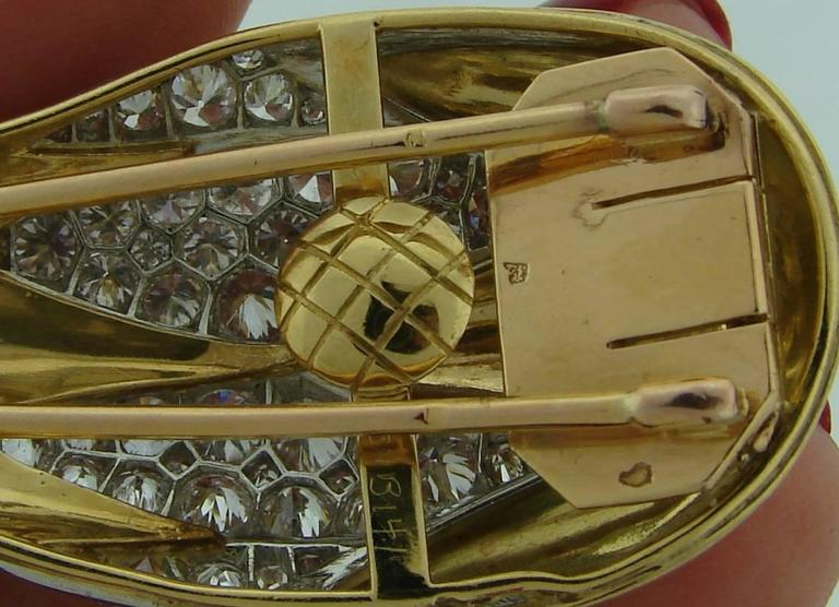 Suzanne Belperron Dents de Loup Diamond Gold Platinum Clip Brooches For Sale 4