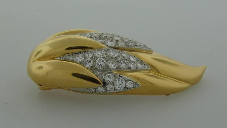 Suzanne Belperron Dents de Loup Diamond Gold Platinum Clip Brooches For Sale 2