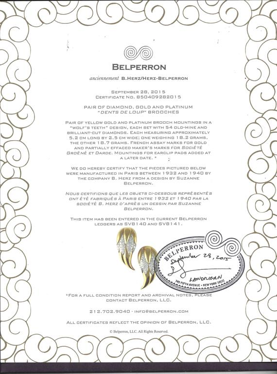 Suzanne Belperron Dents de Loup Diamond Gold Platinum Clip Brooches For Sale 5
