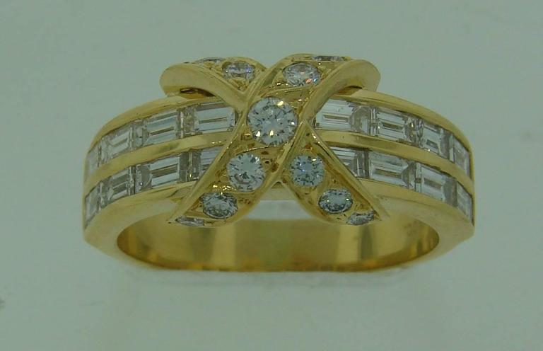 Tiffany & Co. Diamond Gold X Band Ring 2
