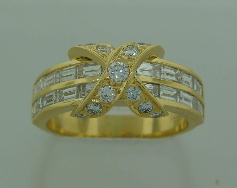 Tiffany & Co. Diamond Gold X Band Ring 3