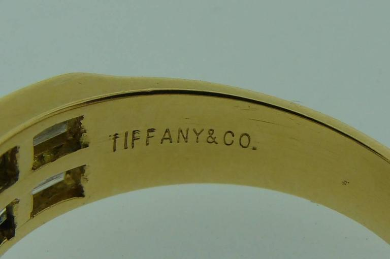 Tiffany & Co. Diamond Gold X Band Ring 6