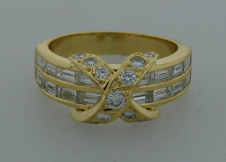Tiffany & Co. Diamond Gold X Band Ring 7