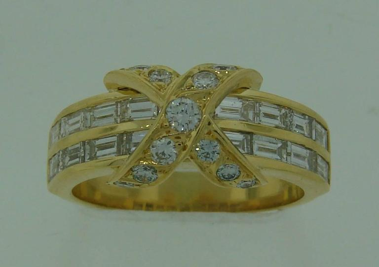 Tiffany & Co. Diamond Gold X Band Ring 8