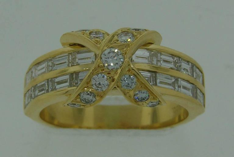 Tiffany & Co. Diamond Gold X Band Ring 9