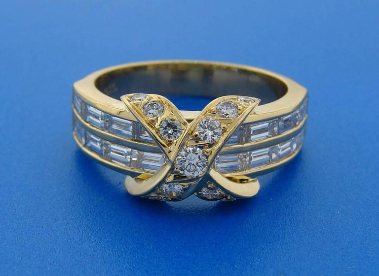 Tiffany & Co. Diamond Gold X Band Ring 10