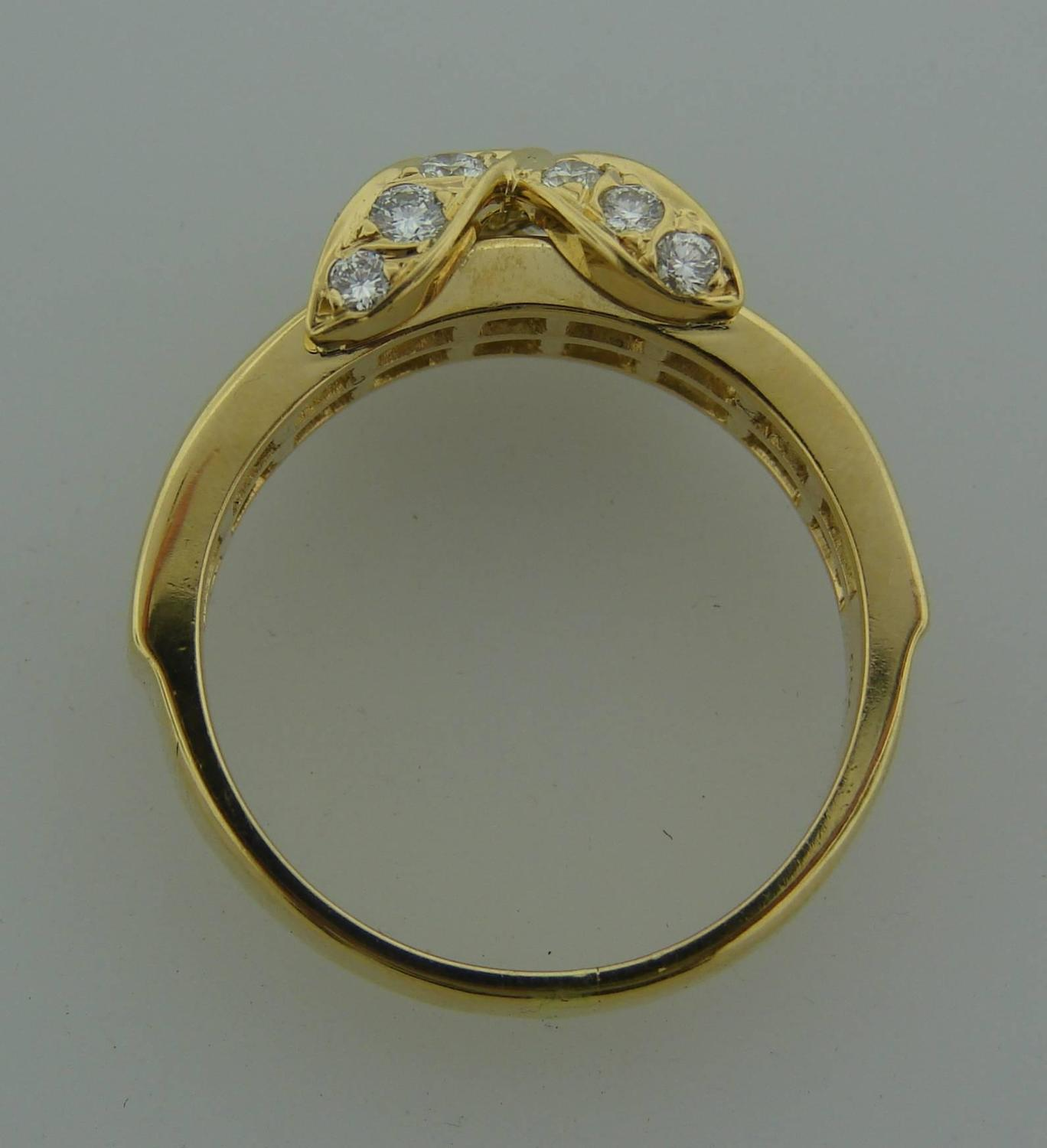 Tiffany and Co Diamond Gold X Band Ring For Sale at 1stdibs