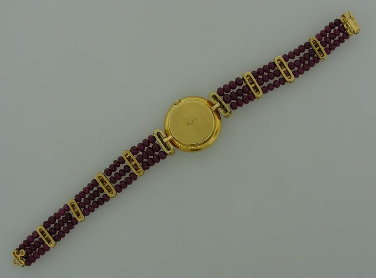 Boucheron Lady's Yellow Gold Diamond Ruby Quartz  Wristwatch For Sale 3