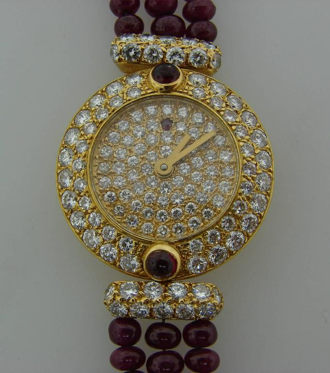 Boucheron Lady's Yellow Gold Diamond Ruby Quartz  Wristwatch In Excellent Condition For Sale In Beverly Hills, CA