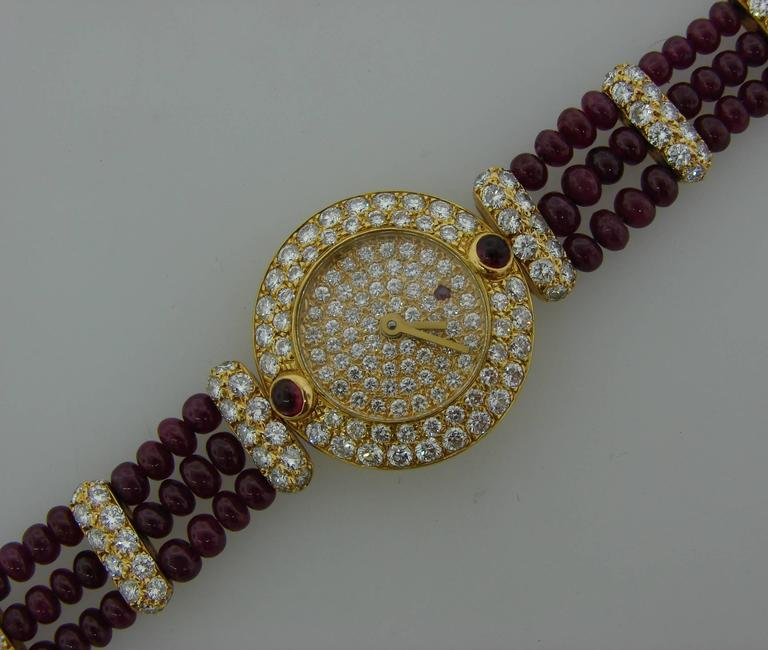 Women's Boucheron Lady's Yellow Gold Diamond Ruby Quartz  Wristwatch For Sale