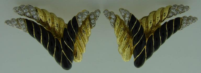 1980s David Webb Enamel Diamond Gold Earrings 2