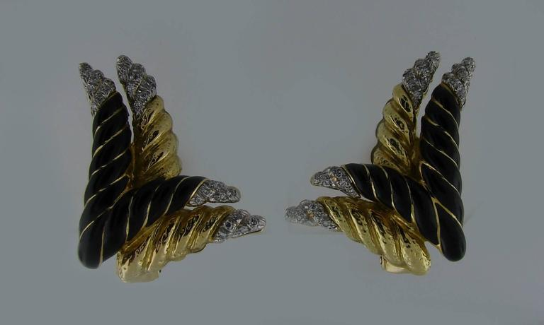 1980s David Webb Enamel Diamond Gold Earrings 3