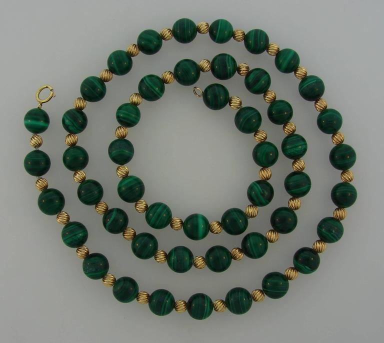 1970s Van Cleef And Arpels Malachite Gold Bead Necklace