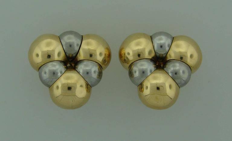 Bold, volumetric earrings created by Marina B in Italy in the 1980's. Chic and wearable, you can wear them day and night. They are made of yellow and white gold and that allows you to wear them with your other yellow gold or white gold or platinum