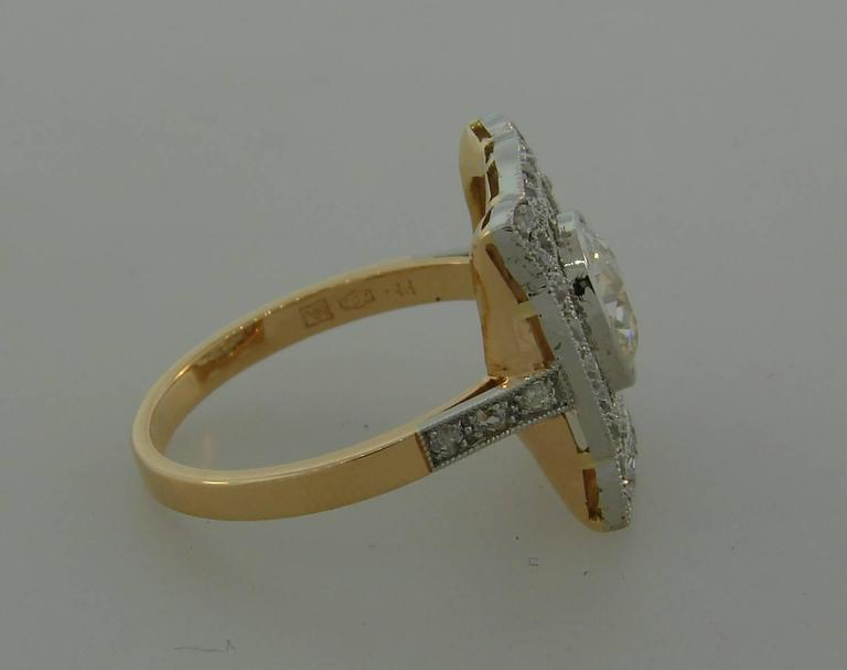 1960s Edwardian Revival Diamond Platinum Gold Ring For Sale 2