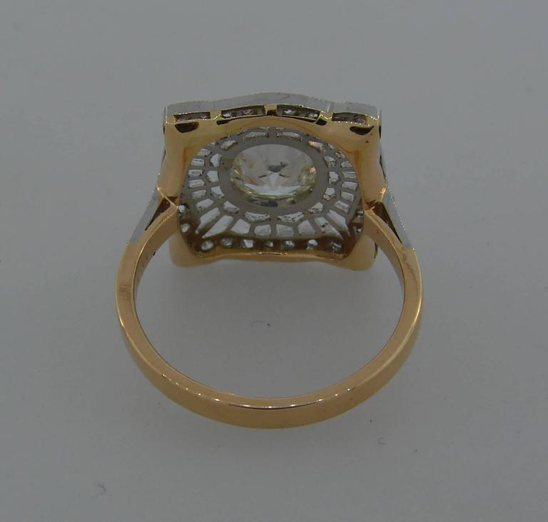 1960s Edwardian Revival Diamond Platinum Gold Ring For Sale 3