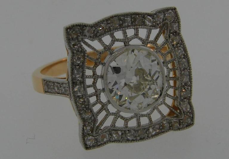 1960s Edwardian Revival Diamond Platinum Gold Ring In Excellent Condition For Sale In Beverly Hills, CA