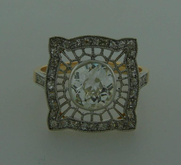 1960s Edwardian Revival Diamond Platinum Gold Ring For Sale 1
