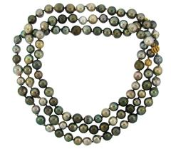 L. Frank Tahitian Pearl Strand Necklace with Diamond and Gold Rondells