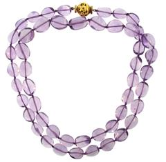 Verdura Amethyst Bead Strand Necklace with Gold Clasp