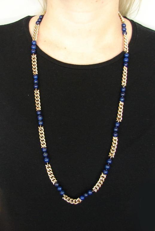 1970s Van Cleef & Arpels VCA Lapis Lazuli Bead Gold Chain Necklace For Sale 1