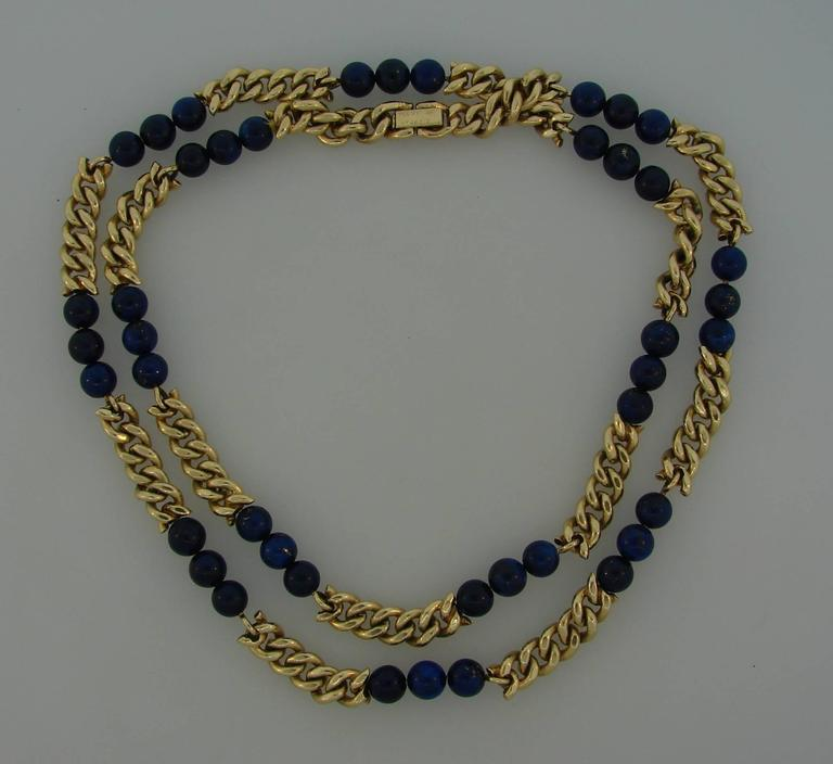 Nice and wearable necklace created by Van Cleef & Arpels in New York in the 1970s. It is made of 18 karat (stamped) yellow gold and lapis lazuli beads. The necklace is 30 inches (76 cm) long, 1/4 inch (0.7 cm) wide and weighs 104.5 grams. The lapis