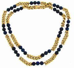 1970s Van Cleef & Arpels VCA Lapis Lazuli Bead Gold Chain Necklace