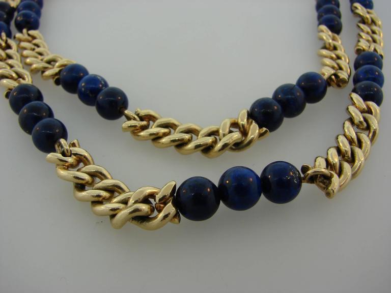 Women's 1970s Van Cleef & Arpels VCA Lapis Lazuli Bead Gold Chain Necklace For Sale