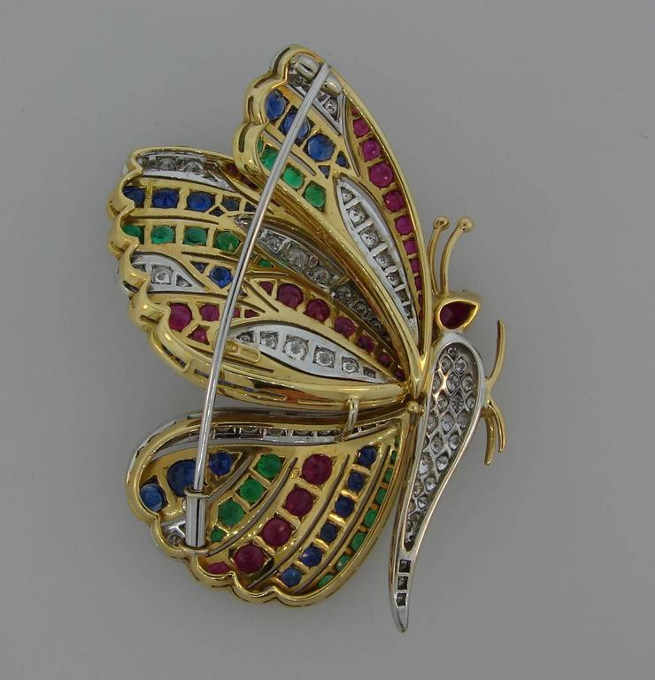 1980s Diamond Ruby Sapphire Emerald Gold Butterfly Pin Brooch Clip 4