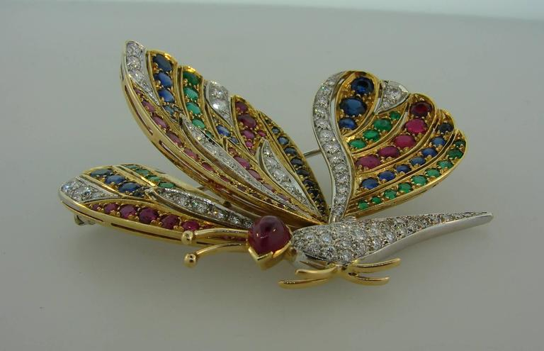 1980s Diamond Ruby Sapphire Emerald Gold Butterfly Pin Brooch Clip 6