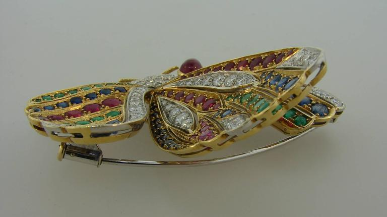 1980s Diamond Ruby Sapphire Emerald Gold Butterfly Pin Brooch Clip 5