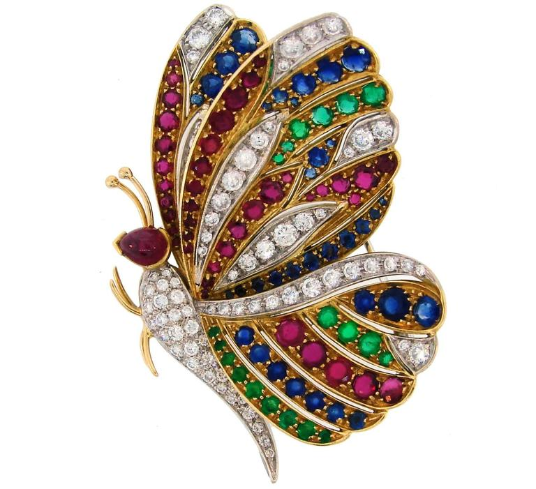 1980s Diamond Ruby Sapphire Emerald Gold Butterfly Pin Brooch Clip 1