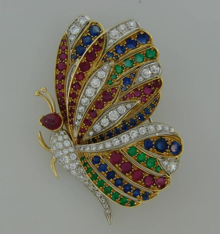 1980s Diamond Ruby Sapphire Emerald Gold Butterfly Pin Brooch Clip 3