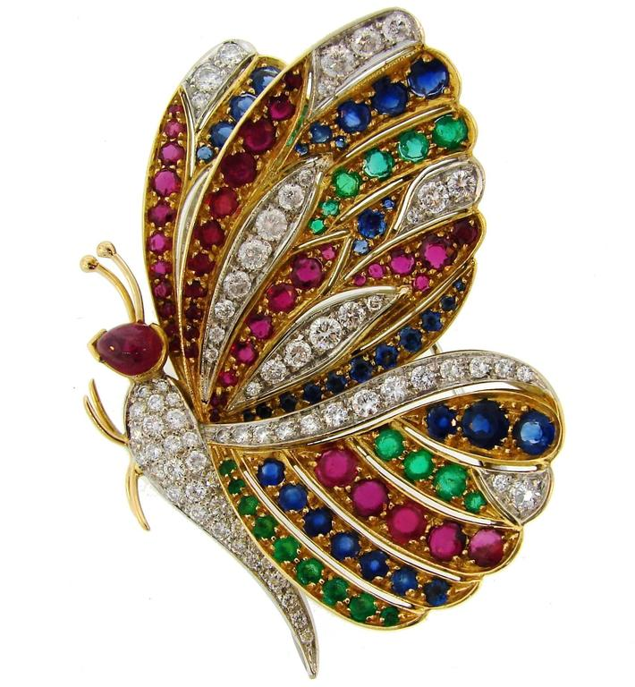 1980s Diamond Ruby Sapphire Emerald Gold Butterfly Pin Brooch Clip 2