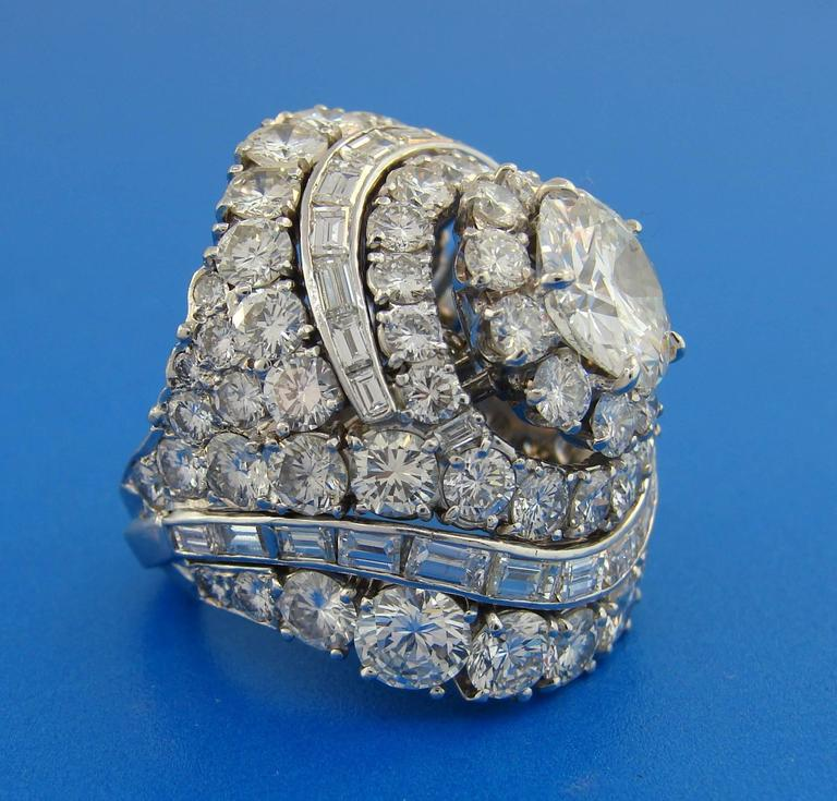 David Webb Diamond Platinum Cocktail Ring In Excellent Condition For Sale In Beverly Hills, CA