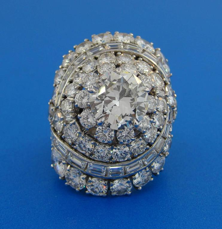 Women's David Webb Diamond Platinum Cocktail Ring For Sale