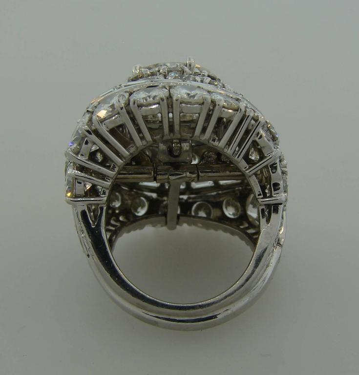 David Webb Diamond Platinum Cocktail Ring For Sale 1
