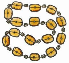 Citrine Diamond Silver Necklace
