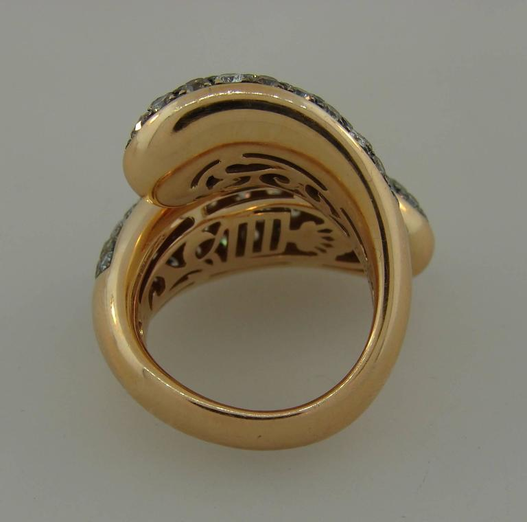 De Grisogono Diamond Rose Gold Stylized Snake Ring For Sale 3