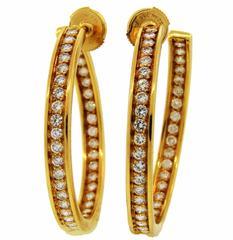 1990s Cartier Diamond Gold Hoop Earrings