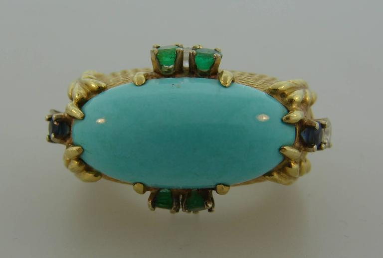 Mixed Cut Vintage Cartier 18k Yellow Gold Cocktail Ring