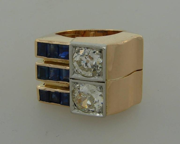 Old European Cut 1940s Diamond Sapphire Rose Gold Retro Ring For Sale