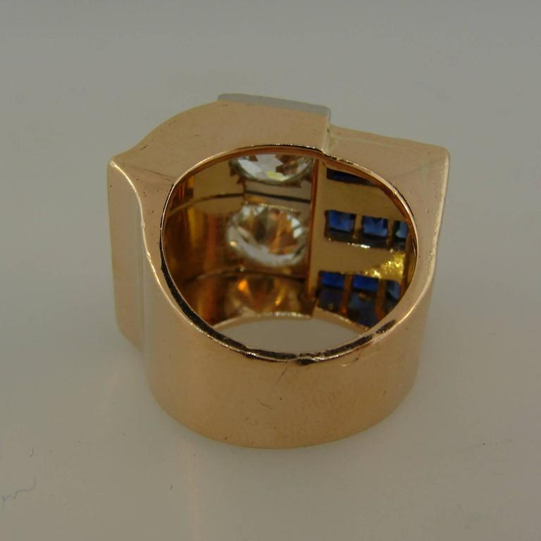 1940s Diamond Sapphire Rose Gold Retro Ring For Sale 2