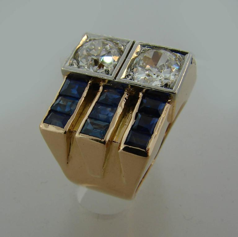 1940s Diamond Sapphire Rose Gold Retro Ring For Sale 4