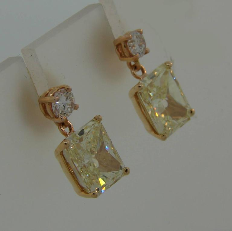 Fancy Yellow Gia And White Diamond Gold Two Stone Stud Drop Earrings For 3