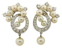 1960s Pearl Diamond White Gold Earrings