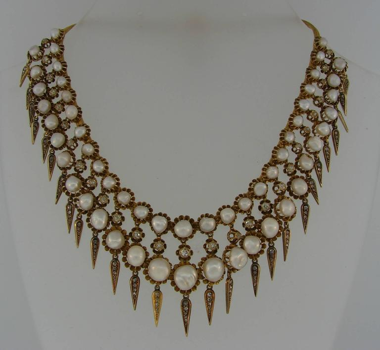 Victorian Natural Pearl Diamond Gold Necklace 2