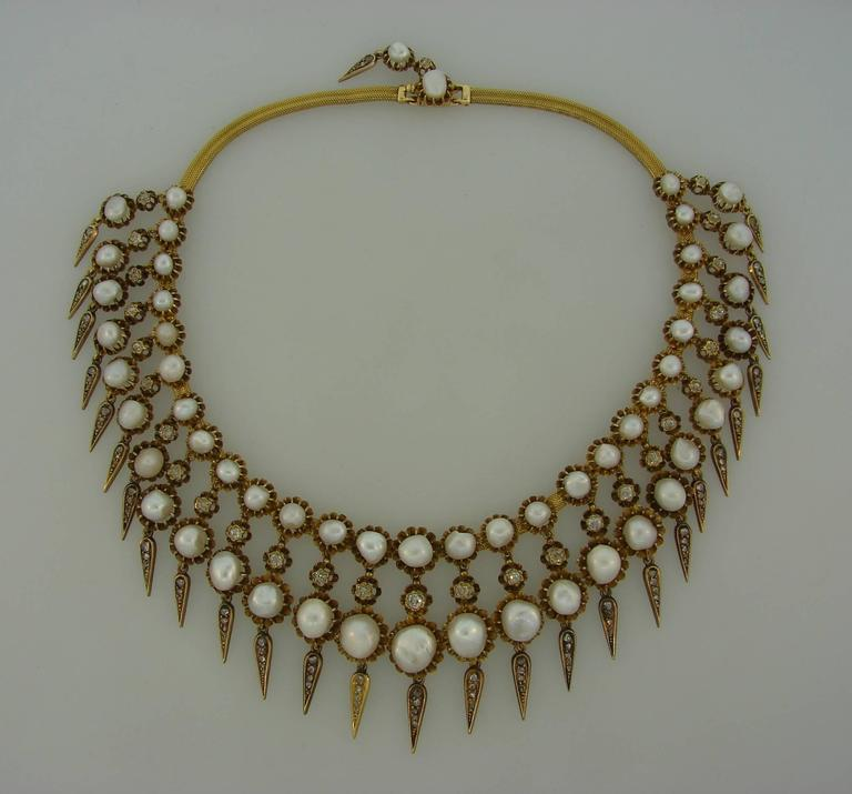 Victorian Natural Pearl Diamond Gold Necklace For Sale 2